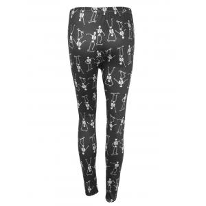 Skeleton Print High Waisted Halloween Leggings - BLACK S