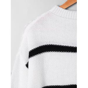 Two Tone Open Knitted Sweater - WHITE S