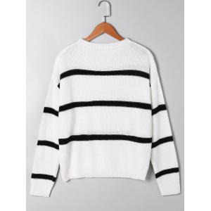 Two Tone Open Knitted Sweater - WHITE M