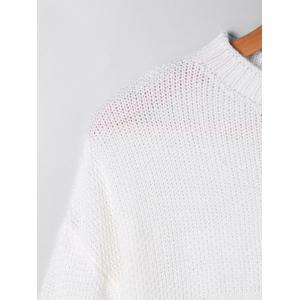 Two Tone Crew Neck Sweater - WHITE AND YELLOW S