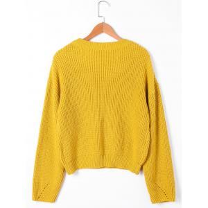 Cable Knit Drop Shoulder Sweater - YELLOW M