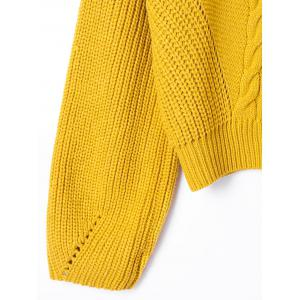 Cable Knit Drop Shoulder Sweater - YELLOW L
