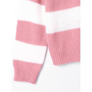 Two Tone Crew Neck Striped Sweater - PINK AND WHITE S