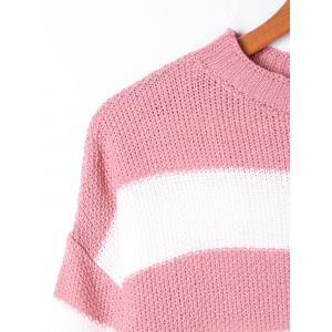 Two Tone Crew Neck Striped Sweater - PINK AND WHITE M
