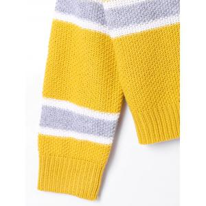 Drop Shoulder Striped Turtleneck Sweater - YELLOW S