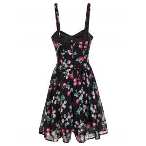 Backless Cherry Print Cami Swing Dress - BLACK S