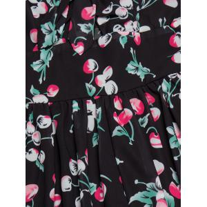Backless Cherry Print Cami Swing Dress - BLACK L