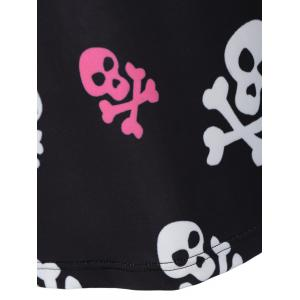 Long Sleeve Skull Print Halloween T Shirt - BLACK XL