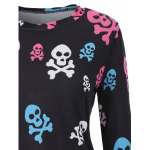 Long Sleeve Skull Print Halloween T Shirt -