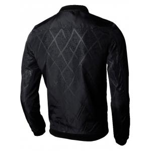 Casual Zip Up Diamond Bomber Jacket - BLACK 2XL