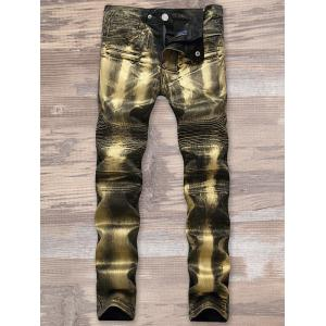 Straight Leg Metallic Color Biker Jeans - GOLDEN 32