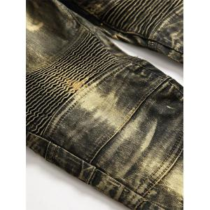 Straight Leg Metallic Color Biker Jeans - GOLDEN 34