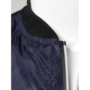 Casual Zip Up Diamond Bomber Jacket - DEEP BLUE 4XL