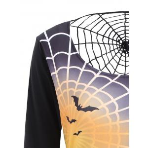 Spider Web Bell Sleeve Halloween T-shirt Dress - BLACK S