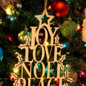 Joy Love Noel Wooden Hanging Sign Christmas Tree Decorations -
