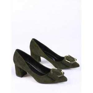 Pointed Toe Metal Buckle Strap Pumps - BLACKISH GREEN 34