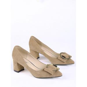 Pointed Toe Metal Buckle Strap Pumps - CAMEL 39