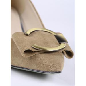 Pointed Toe Metal Buckle Strap Pumps - CAMEL 38