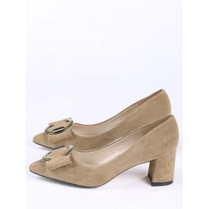 Pointed Toe Metal Buckle Strap Pumps - CAMEL 35