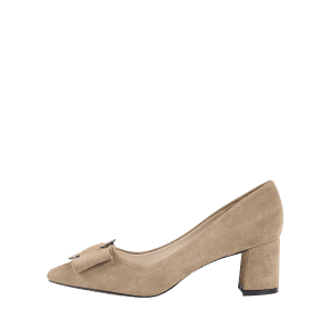 Pointed Toe Metal Buckle Strap Pumps - CAMEL 34