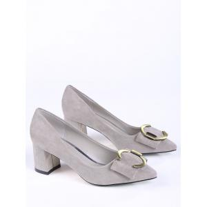 Pointed Toe Metal Buckle Strap Pumps - SUEDE ROSE 35
