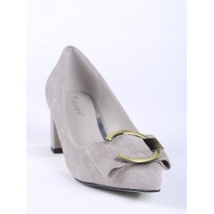 Pointed Toe Metal Buckle Strap Pumps - SUEDE ROSE 36