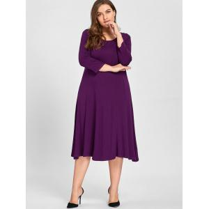 Plus Size A Line Midi T Shirt Dress - PURPLE 3XL