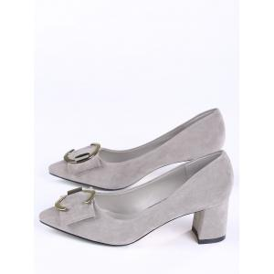 Pointed Toe Metal Buckle Strap Pumps - SUEDE ROSE 38
