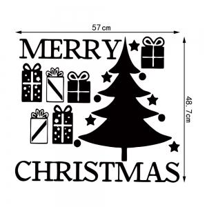 Christmas Tree Gift Pattern Wall Sticker For Bedrooms - BLACK 57*48.7