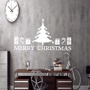 Christmas Tree Gift Pattern Wall Sticker For Bedrooms - WHITE 57*48.7