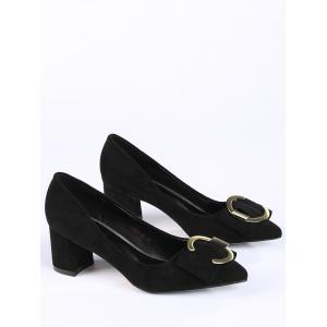 Pointed Toe Metal Buckle Strap Pumps - BLACK 40