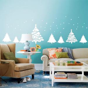 Christmas Tree Pattern Wall Art Sticker For Bedrooms - WHITE 56*31CM