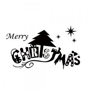 Merry Christmas Wall Art Sticker For Bedrooms - BLACK 57*32CM
