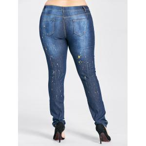 Plus Size Splash High Waisted Ripped Jeans - CERULEAN 2XL