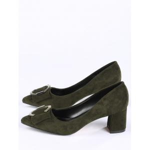 Pointed Toe Metal Buckle Strap Pumps - BLACKISH GREEN 39
