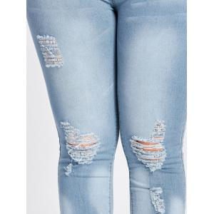 Low Waisted Light Wash Plus Size Ripped Jeans - CLOUDY ONE SIZE