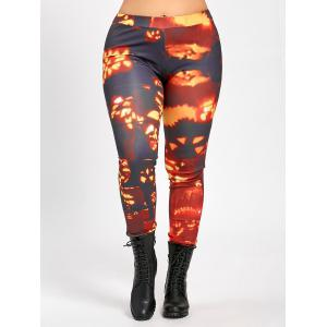 Plus Size Pumpkin Lamp Halloween Slim Pants - ORANGE WAVE POINT XL
