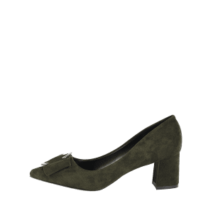Pointed Toe Metal Buckle Strap Pumps - BLACKISH GREEN 37