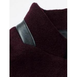 Mock Pocket Mandarin Collar Wool Blend Coat - WINE RED 2XL