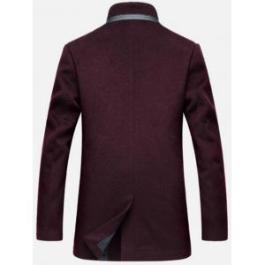 Mock Pocket Mandarin Collar Wool Blend Coat - WINE RED XL