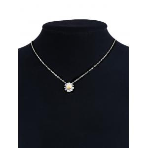 Sterling Silver Flower Collarbone Pendant Necklace - SILVER