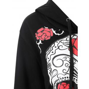 Plus Size Halloween Floral Skull Graphic Hoodie -