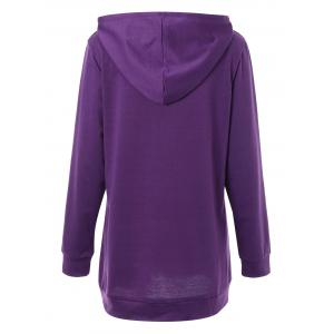 Kangaroo Pocket Woke Up Graphic Plus Size Hoodie - PURPLE 3XL