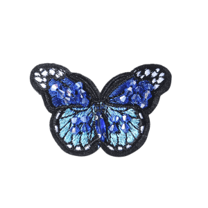 Butterfly Embroidery Shape Brooch - BLUE