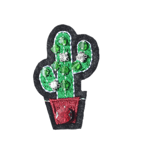 Cactus Embroidery Acrylic Gem Brooch -