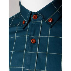 Button Down Collar Checked Shirt - GREEN BLUE 5XL