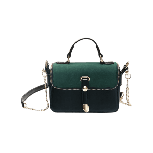 Metal Chain Zip Handbag - GREEN