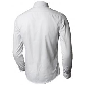Plain Long Sleeve Business Shirt - WHITE 5XL