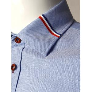 Stripe Detail Long Sleeve Shirt - BLUE 5XL