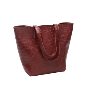 Embossed Pattern Faux Leather Shoulder Bag - RED
